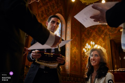 Florence bride smiles during the wedding ceremony