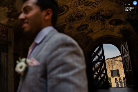 Photo of groom waiting for the bride at the wedding at Certaldo