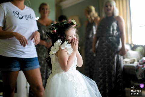 Tennessee flower girl excited in her dress before the wedding