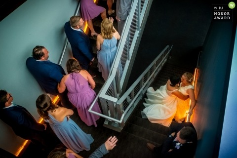Waterview Loft at Port Detroit  - guests make their way to the reception via the stairwell