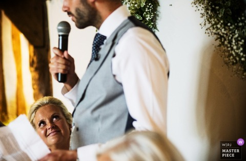 Bride reacts to Groom's speech in England