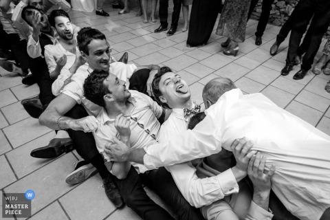 Nantes bridal party having fun playing games at the wedding reception