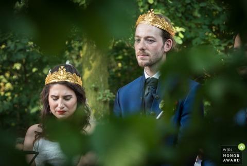 Echteld bride and groom get emotional during the outdoor wedding ceremony