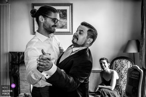 Groom practicing dancing before the wedding ceremony in Savoie