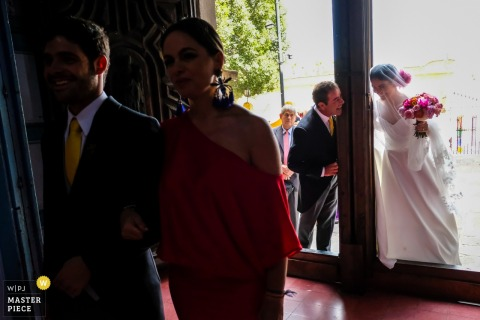 Bride and her father having fun before entering the wedding ceremony in San Miguel de Allende, Mexico