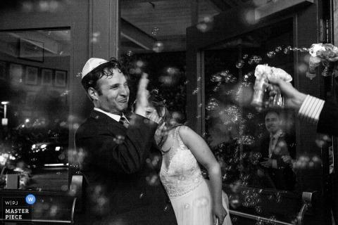Wedding photography send off with bubbles - University Club of Palo Alto, Palo Alto, CA