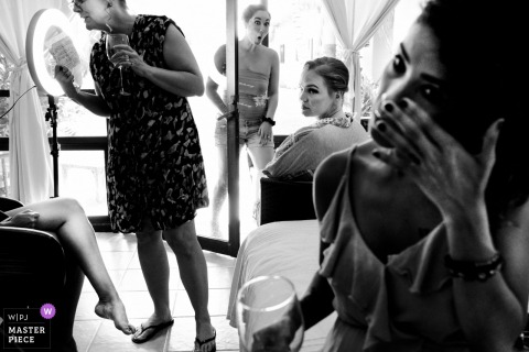 Bride gets emotional while around her bridesmaids before the wedding ceremony in Oaxaca-Puerto Escondido