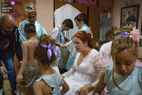 Valencia bridal party preparations while getting ready before the wedding ceremony