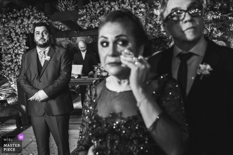 Mother of the Bride gets emotional during the wedding ceremony in Rio de Janeiro, Brazil