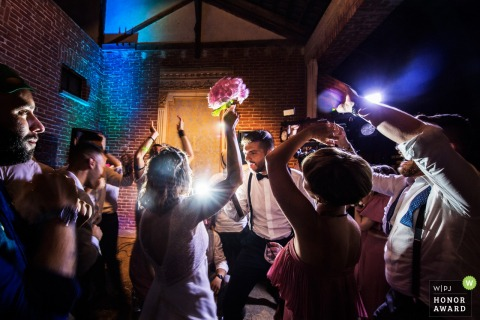 The bridal party enjoying the dance floor at Tenuta Castello Cerrione