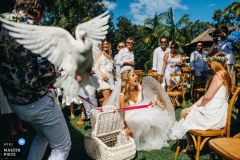 Outdoor photo of bride releasing birds at the wedding in Noosa, Australia