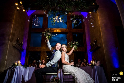 Della Terra Wedding reception photo of bride and groom | Estes Park Wedding Photographer
