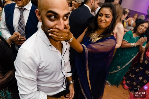 Funny Moment at wedding Reception - London photographer