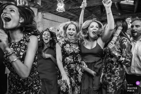 Girls jumping Around at wedding in the South of France