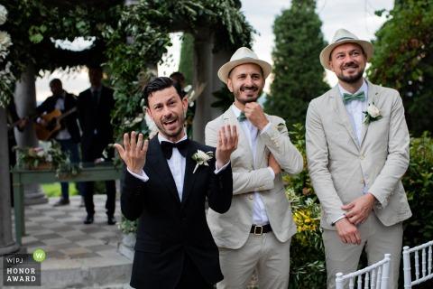 The groom delights in his's first View of the bride at Castel Vecchio - Friuli Venezia Giulia - Italy
