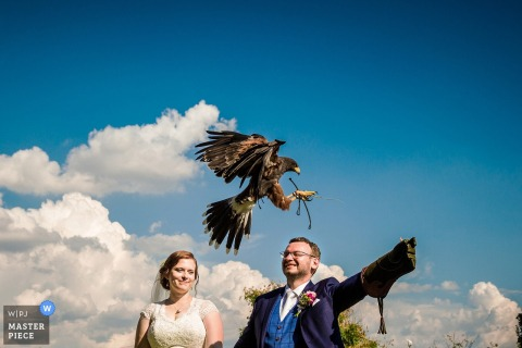 Photo taken in Kraví Hora of the bride standing next to the groom as a hawk flies to him by a Prague wedding photographer.