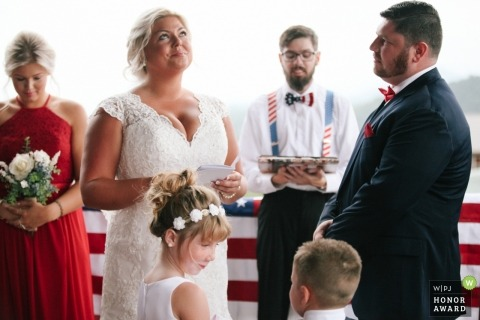Pigeon Forge, TN bride tries to hold back tears during her wedding vows