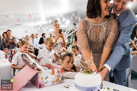 Ecology Pavilion, London cake cutting ceremony during the reception with children and guests looking on