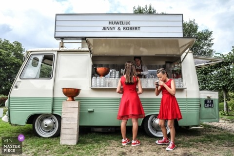 thirsty wedding kids near the food truck | Amsterdam
