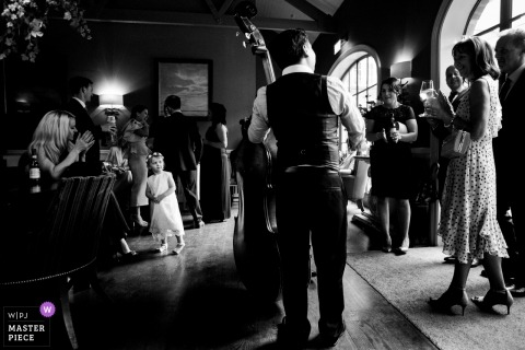 Kildare Wedding Photojournalism | Live bass musician at the wedding reception party