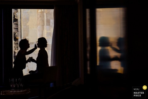 Budapest Wedding Photojournalism | reflected silhouettes of bridal makeup