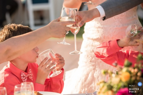 Livermore, CA Hochzeitsfotojournalist | toast and cheers für die braut und den bräutigam und zwei junge jungs an diesem empfang im freien
