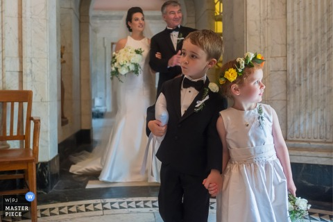 Image of kids at Detroit wedding escorting the bride.