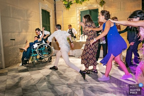 dancing party crazy accident with the mother of bride jump from wheelchair | villa marigola - lerici