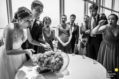 The bride and groom are surprised as their cake topples over while they are attempting to cut it in Madison, WI
