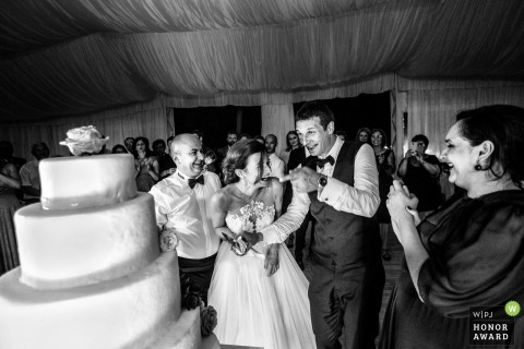 Bride and groom about to cut the cake at this Romania wedding reception party