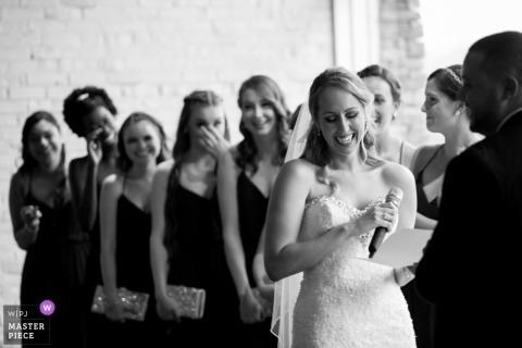 Emotional moment for bride during ceremony