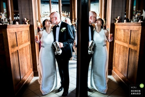 Gracie's (Providence, RI) bride and groom kiss at their wedding reception