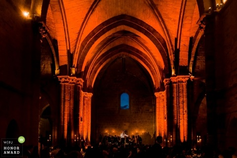 Reception party in Spain in a huge arched hall