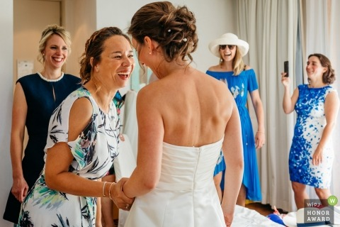 Arnhem guests excited to see the bride in her wedding gown at the hotel