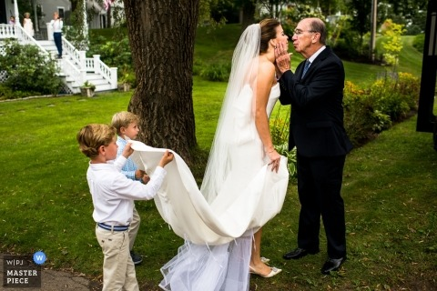dad, bride, daughter, ring bearers, home | Departure Kiss | Kennebunkport Maine
