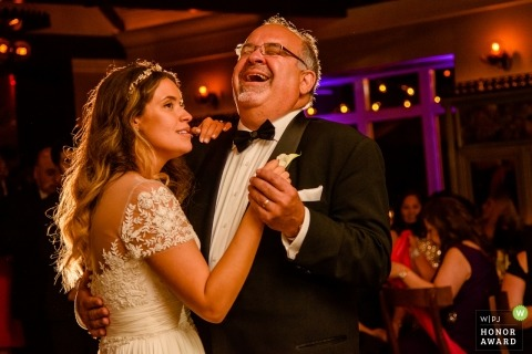 Bride and father enjoying dancing during the father daughter dance at the Tavern on the Green, NY