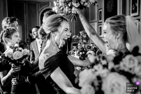 bridesmaids, bride during post ceremony celebration | Finally Married | Ipswich MA