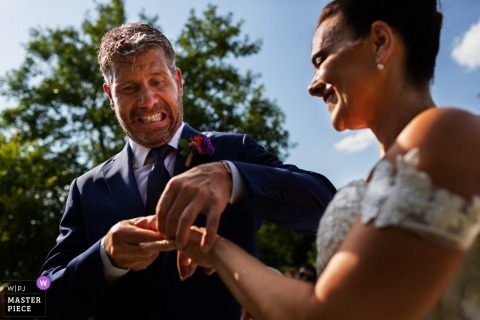 Florence Wedding Photojournalist | outdoor ring exchange during the ceremony