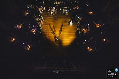 Porto Wedding Photojournalist | overhead view of this Portugal dance floor