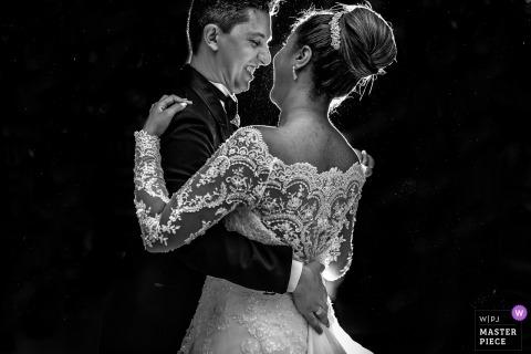 São Paulo Wedding Photojournalist | Brazil first dance photo in black-and-white