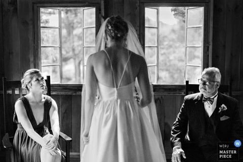 Boston Wedding Photojournalist | symmetrical Image of the bride in black-and-white