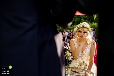Bride in Rome getting emotional during the ceremony