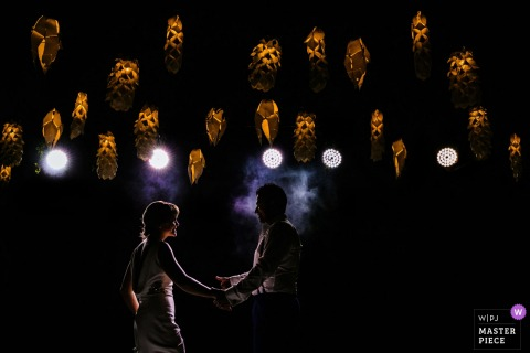 bride and groom dancing under lights at the The Villa by CC, Wadduwa wedding reception