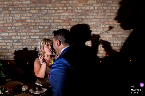 The shadows of this bride feeding her groom cake project onto a brick wall at this Chicago Illinois reception