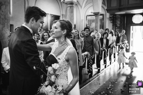 Lugano Wedding Photojournalist | Lombardy Church wedding photography in black-and-white