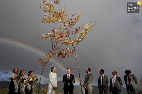 Outdoor ripton Vermont wedding ceremony under two crossed trees and a beautiful rainbow behind them