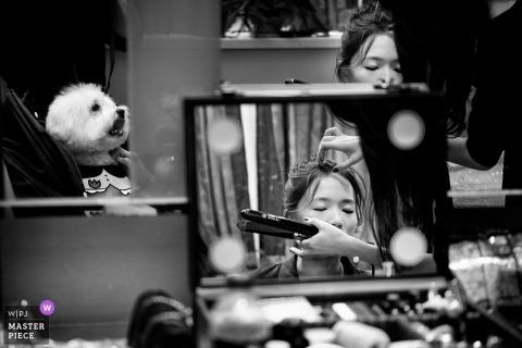 Bridal hair preparations before a Shanghai China wedding ceremony