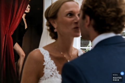 Naarden - The Netherlands bride and groom go face-to-face at their wedding reception