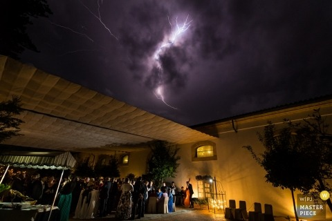Cadiz, Andalucía (Spain) wedding reception with lightning overhead