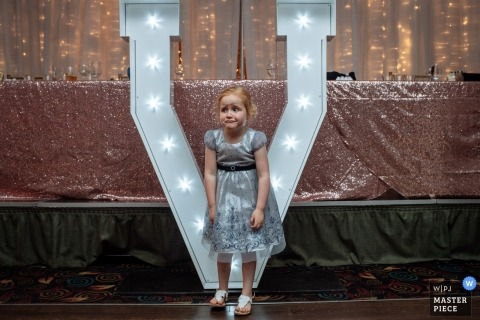 Wedding photojournalism at Alberta - small girl in a dress at the reception